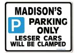 MADISON'S Personalised Parking Sign Gift | Unique Car Present for Her |  Size Large - Metal faced